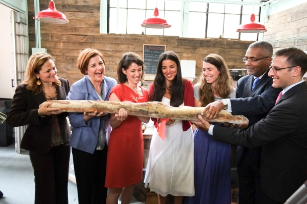 Speaker Quinn During Baguette-Cutting Ceremony at Hot Bread Almacen in La Marqueta--Credit to William Alatriste New YOrk City Council