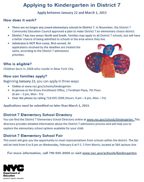 District7KindergartenAdmissionsFlyer